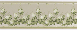 Swag of large leaves and groupings of small flowers. Groups of smaller leaves seen in the background behind the flowers. A ribbon runs across the top and bottom. Background fades from white at the bottom to a light green at the top. Printed in white, yellow, and shades of green.
