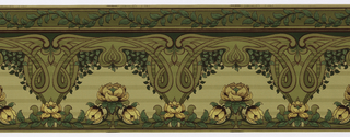 Art Nouveau style. Whiplash lines undulate and loop across the center of the frieze. The bottom contains flowers, alternating between a singular flower and groups of three. The top contains a wavy band of vining foliage. Printed in shades of green, burgundy and metallic gold.