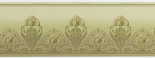 Art Nouveau style. Stylized tulips and leafs, alternating from large to small. Background fades from a light green at the bottom to beige at the top. Printed in gold, green, and shades of beige.
