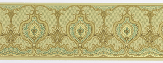 Large oval medallions on background of simulated textile with effect of tufting or cording.