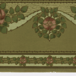 Stylized rose with foliage, above and below serpentine ribbon. Band of thorny rose stem along top edge. At bottom edge, band of rose and stem, possibly to be cut off and used separately.