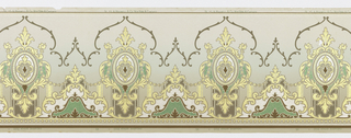 """Foliate medallions with thick """"C"""" and """"S"""" scrolls running along the bottom and thin """"C"""" and """"S"""" scrolls running along the top. The bottom half contains vertical stripes which stop a swag of small dots connecting each medallion. Printed in gold, gray, cream, brown, and shades of green."""