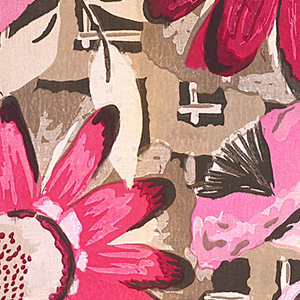 Large dark and light pink daisies and trumpet-shaped flowers on a tan trellis with a black ground.