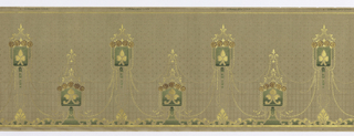 "On beige ground with light brown specks, square banners on stands in green containing yellow shapes, such as spades and fleur-de-lis, topped with roses in brown and crowned with yellow scrolls, all connected by yellow ""chains."" Lower border with yellow acanthus leaves and scrolls."