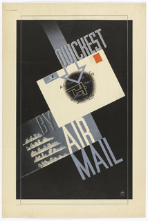 "On a black ground, situated in diagonal on picture plane, a white envelope with red stamp and written address, and a black smudge at center superimposed with text that mimics handwriting, and a white, abstracted outline of an airplane. Text in gray, upper center: QUICKEST; lower center: BY / AIR / MAIL. To the left of ""AIR MAIL"" are five long thing cloud-like shapes."