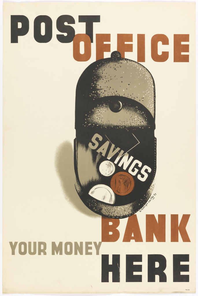 At center, an image of an open black mailbox, with three coins, and in brown and white text, at an angle: SAVINGS. Above, in black and red text: POST / OFFICE. Below in red, gray and black text: BANK / YOUR MONEY / HERE.