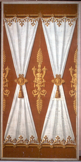 """""""Ridde satin blanc."""" On rust-colored flock ground, simulated draped white fabric or drapery on each of two wallpaper panels. Fabric panels suspended between golden horizontal rods, cinched in centers with golden medallions, with masks, from which hang tassels. Neoclassic figures rising from oak foliage, bearing cornucopias and flowers, spaced between """"fabric"""" panels. Golden leaf decorations bordering white """"fabric."""""""