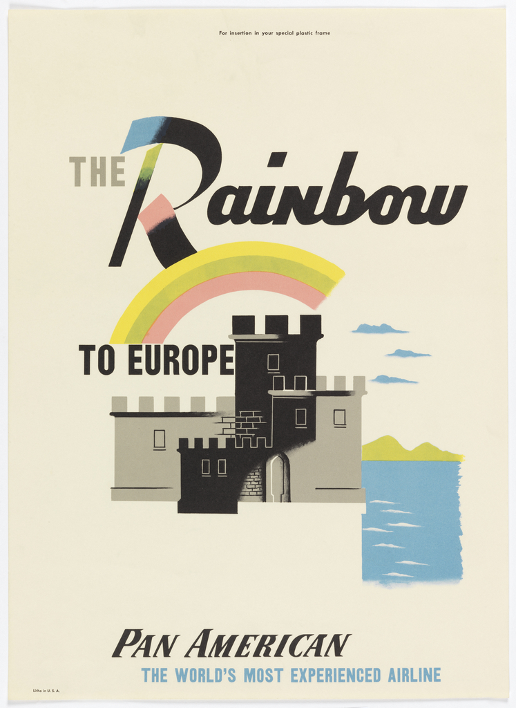 Image of a black and gray crenellated castle or fortress surrounded by water, with a rainbow above. Text in gray and black, above: THE Rainbow / TO EUROPE; below: PAN AMERICAN / THE WORLD'S MOST EXPERIENCED AIRLINE.