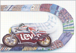 "On a grid background, rider on a motorcycle that reads: LEVI'S. Figure rides along a ""path"" of folded Levi's shirts that are situated in a curve; the energy that comes from the rider spells out: SHIRTS."