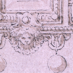 Woman wearing a helmet seated within a broken pediment, flanked by volutes. Below, a rectangular frame. On either side, a fantastic figure. Below, a mask and two hanging pearls.