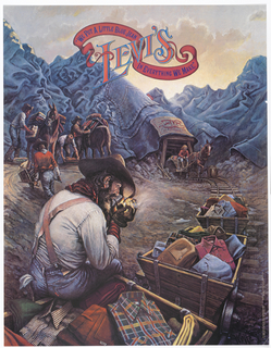 A mining scene with mountain made of jeans in background and horse and wagon coming out of pit. Several miners pushing wagons, horses. In the foreground, a seated man clearly wearing Levi's is lighting his pipe; next to him several folded shirts and a wagon filled with shirts.