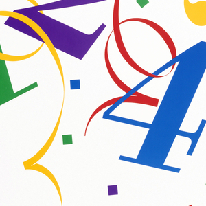 On a white ground, bordered by gray frame, 1, 2, 4, 3; 1 in green, 2 in purple, 4 in blue, and 3 in yellow, surrounded by colorful streamers and confetti. Lower right, a Charlie Chaplin-like figure holding a red 5 and running away. In black ink: Happy / Birthday, / PC! / Celebrating / five years / of the IBM / Personal / Computer. Lower left, in black: IBM [logo].