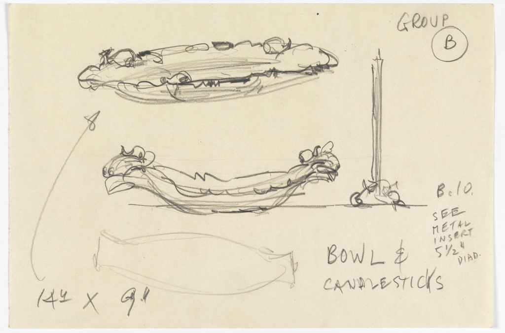 """Sketches of two bowls with ornamental edges and a candle in a holder. Lower left, in graphite: 14"""" x 9""""; upper right: GROUP B; below: B. 10 / SEE / METAL / INSERT 5 ½"""" DIAM. / BOWL & / CANDLESTICKS."""