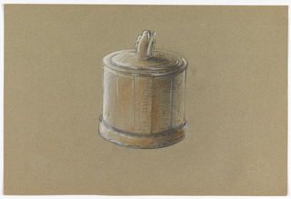 Barrel-shaped container with a lid and horse head as finial.