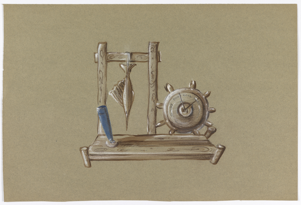 A stand holding a ship's wheel that is also a clock. A wooden strut next to it with a swordfish hanging from it, and a pen holder in blue.