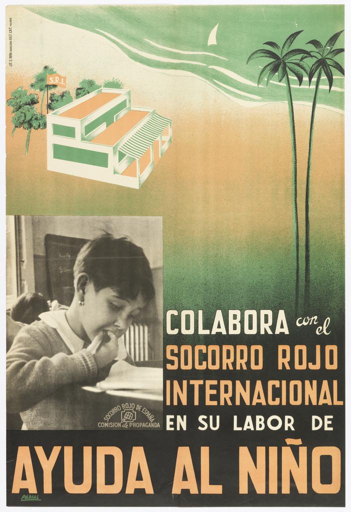 Poster, Colabora con el/socorro rojo/internacional/en su labor de/ayuda al niño (Collaborate with the International Red Aid in their efforts to help the child)
