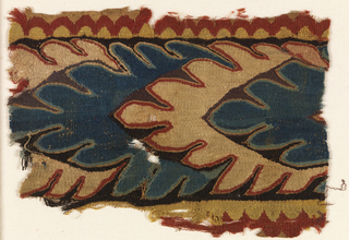 Fragment with continuous overlapping leaf pattern in natural wool, blue, red and purple