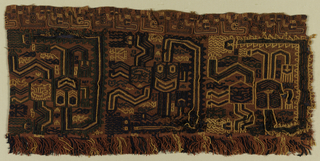 Fragment of a mantle border solidly embroidered in tan, red, blue and green. Design shows shaman or deity figures facing in alternating directions, surrounded by birds and animals; with a looped and twisted fringe on one edge.