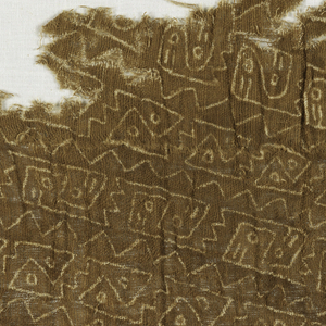 Fine, loosely woven cotton cloth with slightly overtwised yarns, with a small scale all-over design of diagonals of interlocking birds alternating with diagonals of interlocking fishes, each diagonal set off by zigzag line; in reserved natural white on a brown ground.
