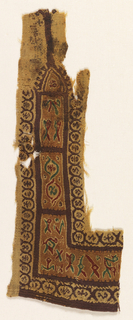 Tapestry woven fragment showing purple guilloche border on undyed linen ground, and stylized birds between thick purple bands.