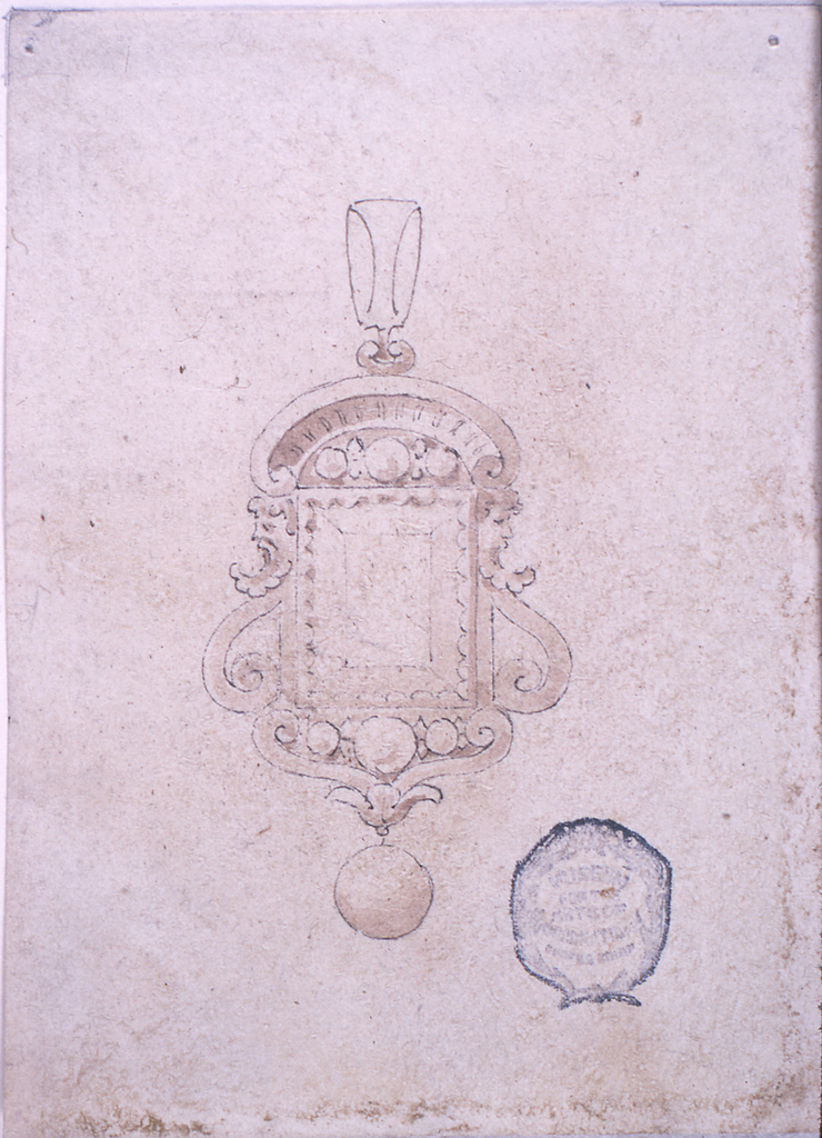 A big square diamond framed by a segmented pediment at the sides by volutes with masks in profile. Below, a chalice with two volutes. Pending a bead. Above, a link.