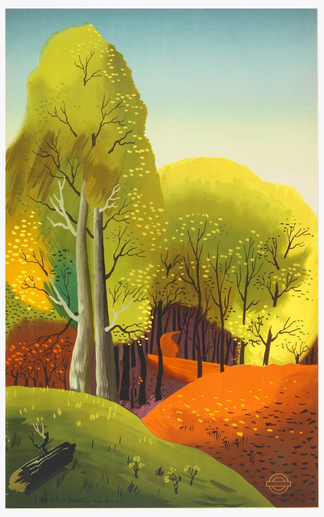 Poster design for the London Transport, advertising the autumnal countryside which can be reached by the railway. Colorful hilly and wooded landscape. Lower right, in orange outline: [London Underground logo].