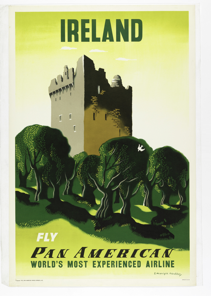 Image of a green landscape with a fortress/castle. Text in green, above: IRELAND. Below, in white and green: FLY / PAN AMERICAN / WORLD'S MOST EXPERIENCED AIRLINE.
