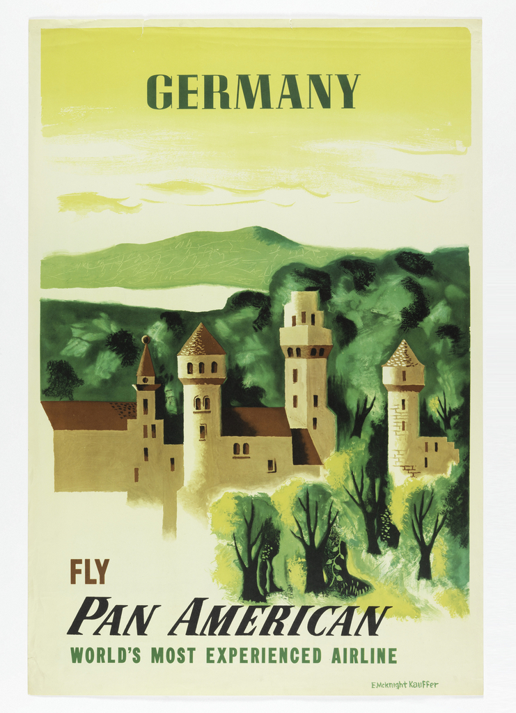 Poster design encouraging travel to Germany via Pan American Airlines. Image of a green landscape with a castle. A body of water and a green mountain in the background, below a yellow sky. Text in green, above: GERMANY. Below, in brown and green: FLY / PAN AMERICAN / WORLD'S MOST EXPERIENCED AIRLINE.