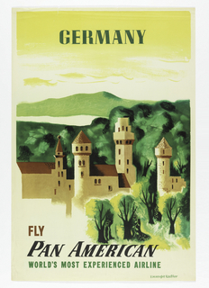 Image of a green landscape with a castle. Text in green, above: GERMANY. Below, in brown and green: FLY / PAN AMERICAN / WORLD'S MOST EXPERIENCED AIRLINE.