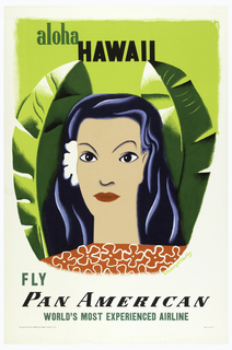 Poster design encouraging travel to Hawaii via Pan American Airlines. Face of a woman with white flower in black hair, wearing a red shirt with white flowers. On either side of the woman's face, large green leaves. Above in green and black text: aloha / HAWAII; below: FLY / PAN AMERICAN / WORLD'S MOST EXPERIENCED AIRLINE.