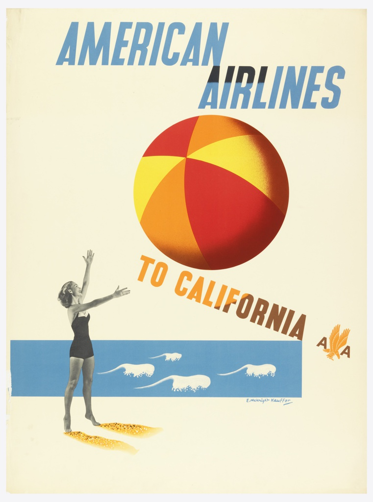 Woman in a bathing suit at the beach, throwing a large colorful beach ball into the air. Text in blue, above: AMERICAN AIRLINES; in yellow: TO CALIFORNIA [logo of American Airlines].