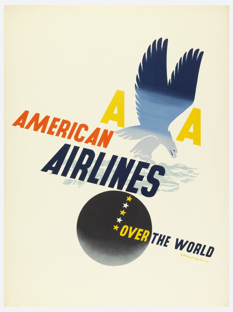 Poster design encouraging travel via American Airlines. A blue and yellow American Airlines logo appears above a black sphere embellished with yellow and white stars that form a vertical line running from the upper edge of the circle to the center. Text in red, yellow, and blue, center: AMERICAN / AIRLINES / OVER THE WORLD.