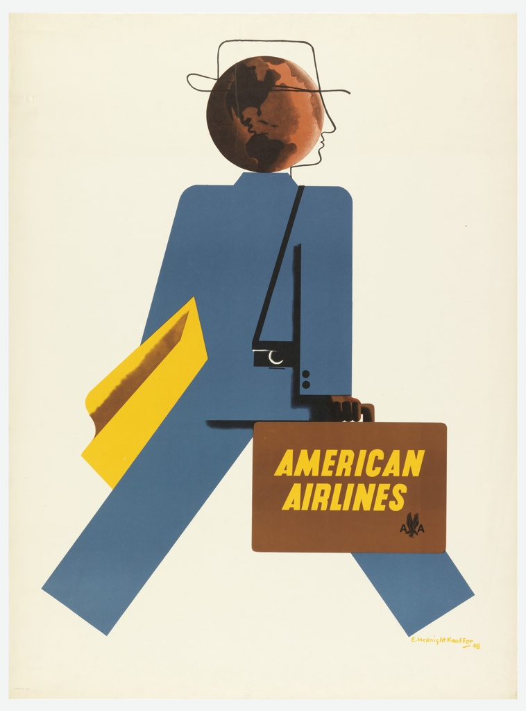 Poster design encouraging travel via American Airlines. Figure of a striding business person shown from behind, wearing a blue suit. The figure's head is represented by the outline of a stylized, linear profile superimposed on a brown globe. The figure carries a yellow garment, a black camera, and a brown briefcase emblazoned with yellow text: AMERICAN / AIRLINES [American Airlines logo in black].