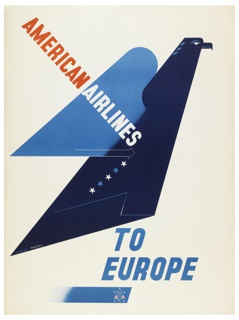 Poster design encouraging travel to Europe via American Airlines. Stylized eagle, shown in profile facing right, composed from flat, geometric planes of blue and navy. Text in red, white, and blue, across poster on a diagonal: AMERICAN AIRLINES / TO / EUROPE. Superimposed on a blue stripe at bottom, center: [American Airlines logo in white and red]