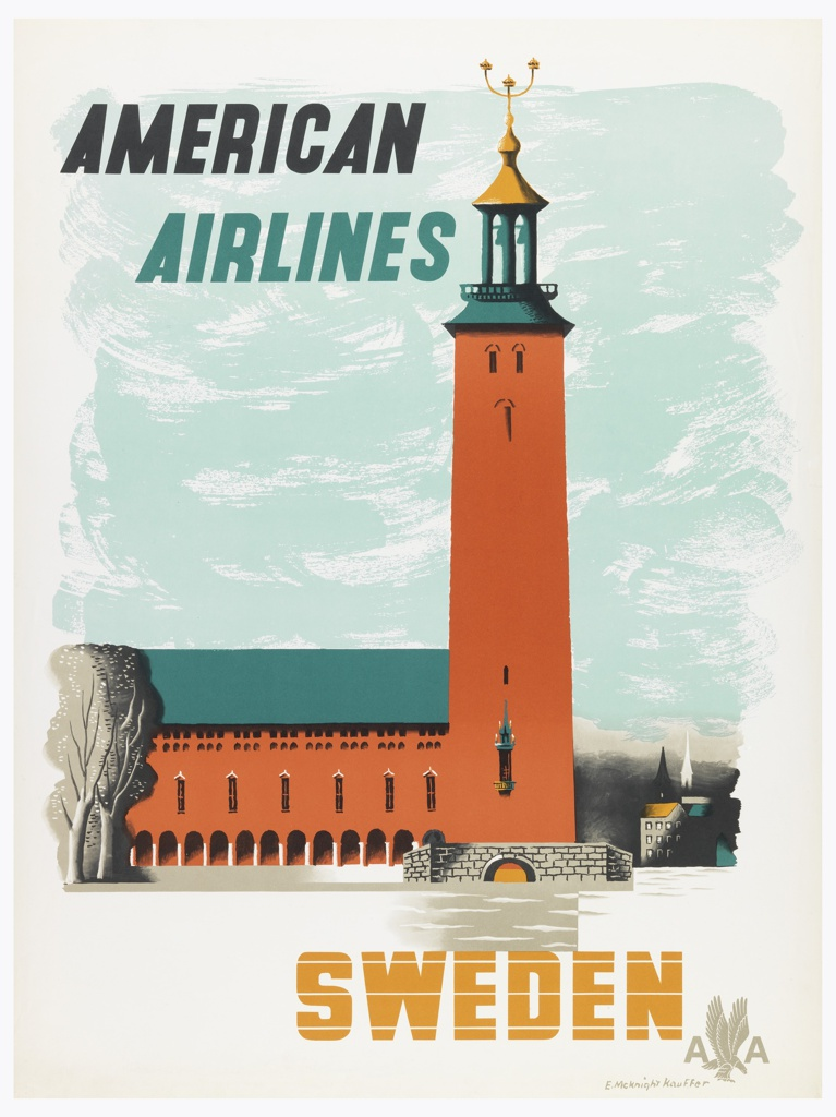 Poster for American Airlines advertising Sweden. View of Stockholm's City Hall building as seen from Riddarfjärden Bay, with a small stone bridge in foreground and cityscape in background to the right. In black and teal text, upper left: AMERICAN / AIRLINES; in gold, lower right: SWEDEN [American Airlines logo in gray].