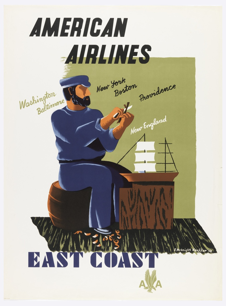 Poster for American Airlines advertising the East Coast of the United States. A bearded figure dressed in blue, sitting on a wooden barrel, carving a piece of wood, curled wood-shavings on the ground. Before the figure, a model sailboat on a wooden table. In black text, upper left: AMERICAN / AIRLINES; in green, black and white script, center and center left: Washington / Baltimore; New York / Boston / Providence / New England. In blue serif text, center left: EAST COAST / [American Airlines logo in green].
