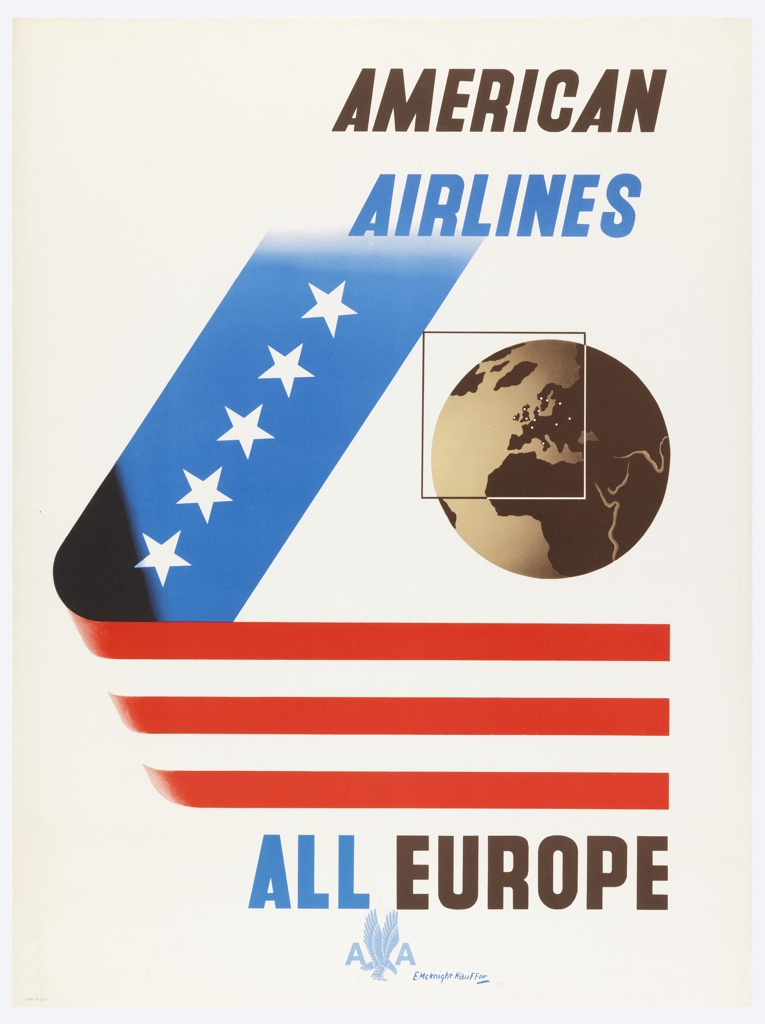 Poster design encouraging travel to Europe via American Airlines. Ribbon in L-shape with white stars on blue, and red and white stripes. On right, depiction of a globe in black and white with superimposed square highlighting the European region. In black and blue text, upper right: AMERICAN / AIRLINES. in black and blue, lower right: ALL EUROPE / [American Airlines logo in light blue].