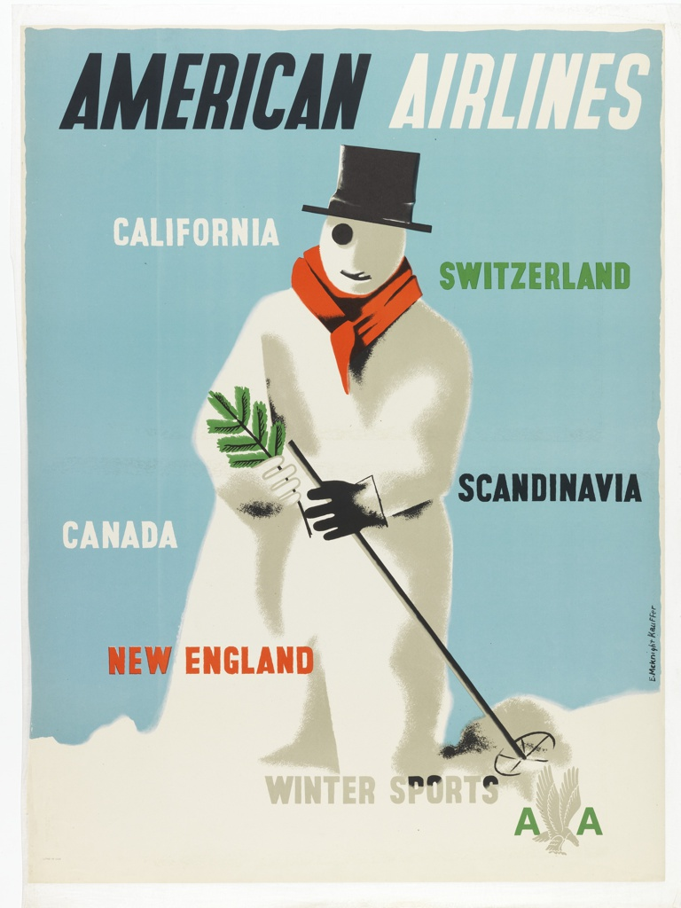 Poster for American Airlines advertising places to travel for winter sports. At center, a snowman wearing a red scarf, black top hat, and eye patch, holding a pine tree branch and a ski pole, in a snowy landscape. In black and white text, upper center: AMERICAN AIRLINES; in multicolored text, across poster: CALIFORNIA / SWITZERLAND / SCANDINAVIA / CANADA / NEW ENGLAND / WINTER SPORTS [American Airlines logo].