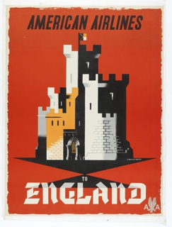 Poster for American Airlines advertising England. Crenellated castle towers and fortifications in white, black, and gold on red ground. In black text, upper center: AMERICAN AIRLINES; in white serif text, lower center: TO / ENGLAND [American Airlines logo in gray].
