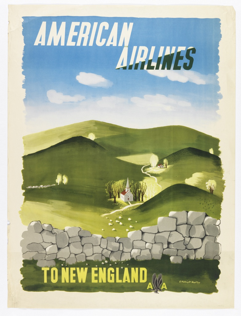 Poster for American Airlines advertising New England. View of hilly countryside with a rock wall in the foreground, and a small chapel behind it tucked into the hillside. In black and white text, upper center: AMERICAN AIRLINES; in yellow, lower right: TO NEW ENGLAND [American Airlines logo].