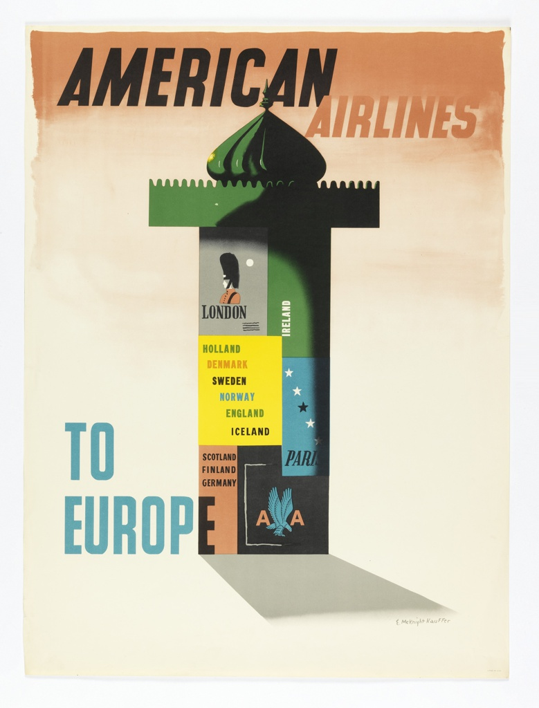 Poster for American Airlines advertising Europe. On peach-colored gradient ground, a green Morris column plastered with European travel posters. In black and peach text, upper center: AMERICAN AIRLINES; in blue, lower left: TO / EUROPE. The American Airlines logo appears in one of the posters on the column at bottom right.