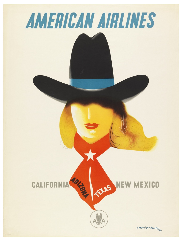 Poster for American Airlines advertising California, Arizona, Texas and New Mexico. At center, head of a blonde person with red lipstick wearing a large cowboy hat and red neckerchief. In blue text, upper center: AMERICAN AIRLINES; in black, grey, and white, center: CALIFORNIA  ARIZONA TEXAS NEW MEXICO. Center bottom [encircled American Airlines logo in gray].