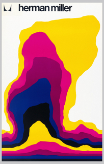 On white ground, abstract biomorphic form in yellow, pink, blue, and black. Above in black: [logo] herman miller.