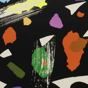 """Poster on light gray ground features an abstract shape made up of black """"brushstrokes"""" dotted with """"scraps"""" of color, in orange, blue, green, red, and yellow. Lower margin on darker ground, in black ink: Ikko Tanaka: Colors of Japan / THE SMITHSONIAN & ART DIRECTORS CLUB OF METROPOLITAN WASHINGTON / & THE JAPAN SOCIETY & SOCIETY OF PUBLICATION DESIGNERS & SHOSHIN SOCIETY."""