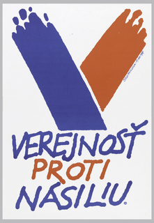 "On white ground, a ""V"" composed of a red and a blue brushstroke, underneath which are the words: VEREJNOST / PROTI / NASILIU."