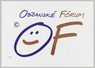 On white ground, text in blue and red: OBCANSKE FORUM / © OF [smiley face inside the O].