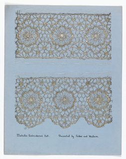 "Samples of machine-made openwork and several examples of hand made lace mounted on boards. They imitate hand-embroidered net, crochet, or needlepoint.  All are floral patterns plus a few of early 1920's geometric style. ""Embroidered net"" produced by the Schiffli Machine."