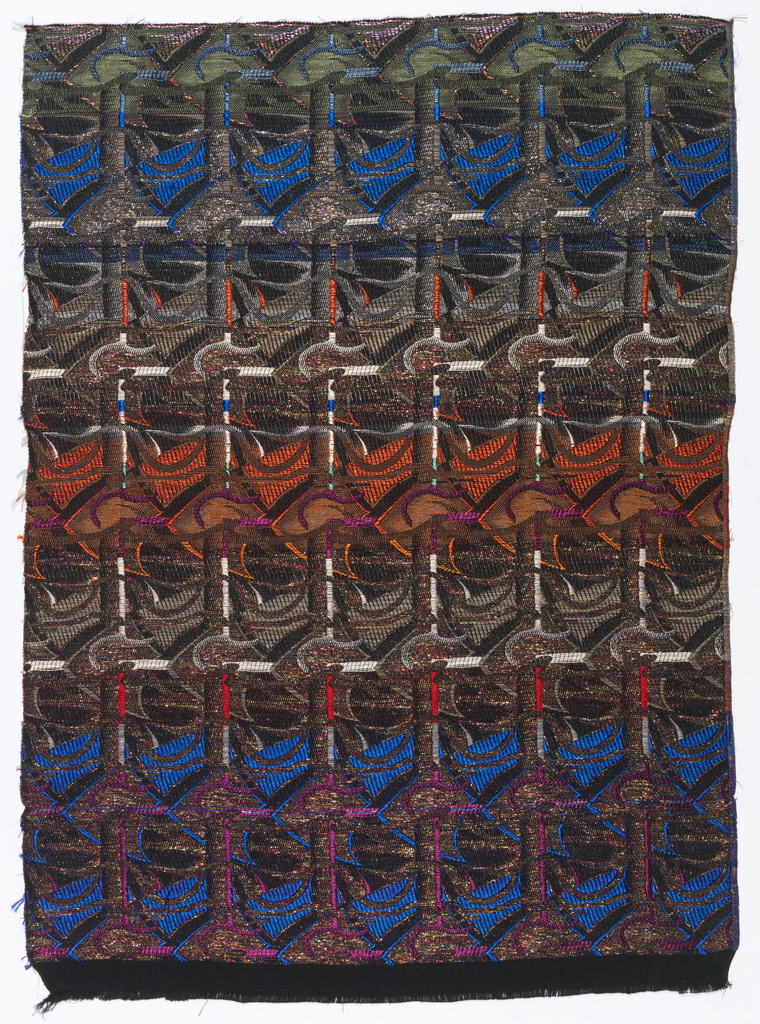 Woven textile with an abstract pattern in bright colors, black and metallic yarns.