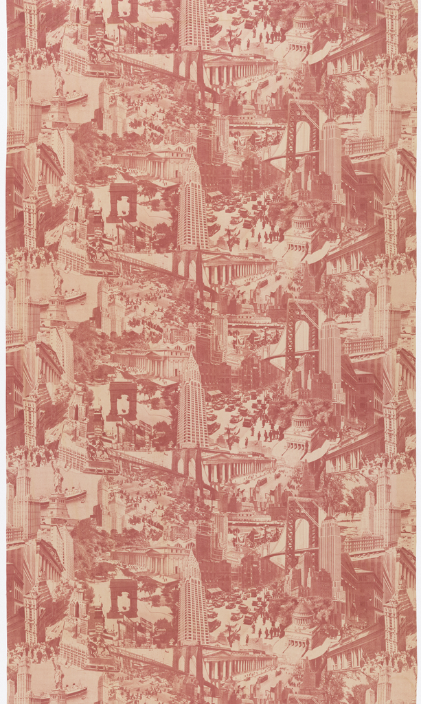 Length of printed cotton with a photo-montage of New York City buildings, bridges and sites, in red on white. Includes the Chrysler, Empire State and Woolworth buildings, the Statue of Liberty, the Brooklyn and Manhattan bridges, Grand Central Terminal, and the old Penn Station.