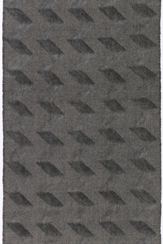 Black and white twill with vertical zigzag lines of mohair.